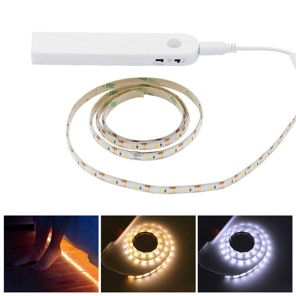 Indoor 1m 2m 3m Wireless Motion Sensor Led Strip Night Light Battery Powered Under Bed Lamp For Closet Wardrobe Cabinet Stairs