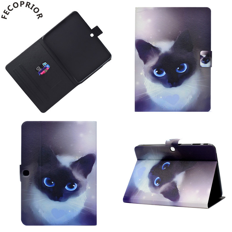 Fecoprior For Samsung Galaxy Tab 3 10.1 P5200 P5210 Case Cover Capa Tablet Skin Cat Sleep Wake Up Leather Shell Stand Card Hold