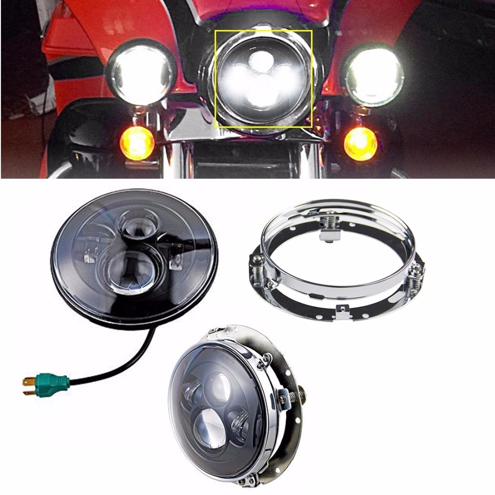 7 Inch LED <font><b>Headlight</b></font> 40W Motos Accessories with Extension Adapter Ring Mounting Bracket for Harley Davidson Touring Bikes