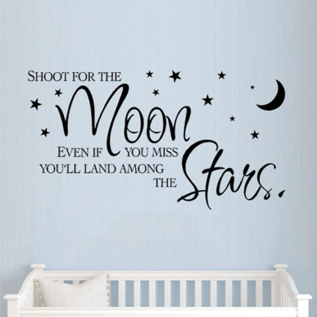 Inspiration Quotes | Lovely Inspiration Quotes Wall Decals Shoot For The Moon Stars