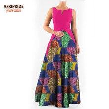 2018 spring maxi party dress for women AFRIPRIDE sleeveless o-neck floor length trumpet cotton A1825032