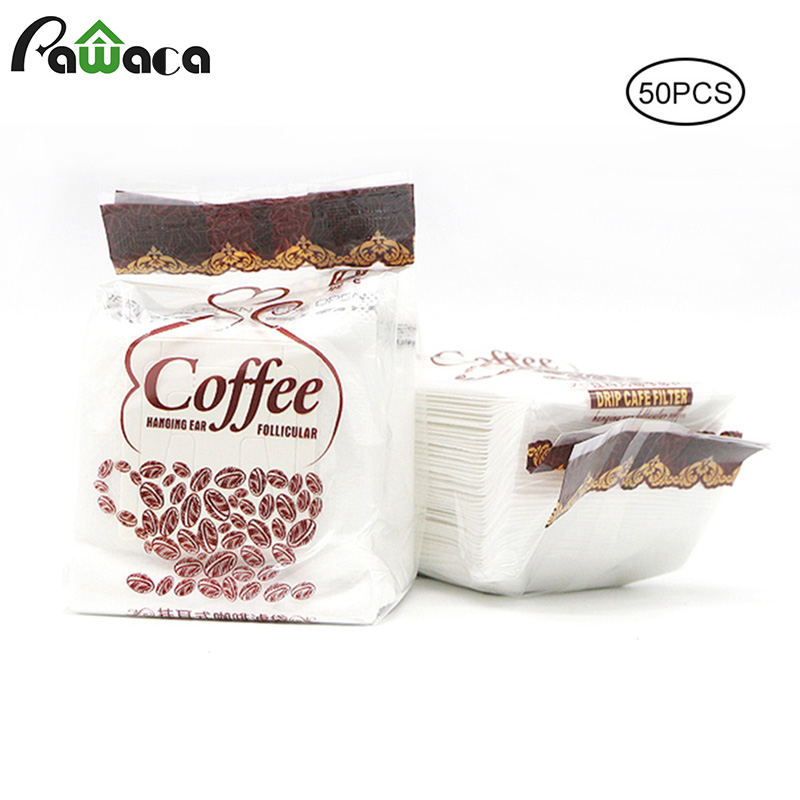 50pcs/lot Premium Coffee Filter Paper Disposable Hanging Ear Drip Filter Bag Coffee Dripper Cups Drip Bag For Home, Outdoor