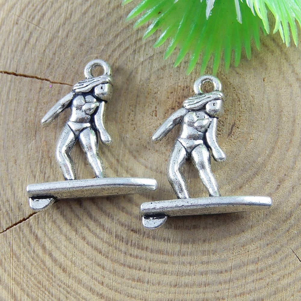 20pcs/lot Creative Women Surfing Necklace Pendant Antique Silver Bracelet Charms 23*19mm Handmade Jewelry Findings Craft 51678