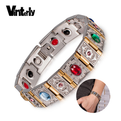Vinterly Wrist Band Magnetic Bracelet Men Stainless Steel Gold-color Chain Bracelets Bangles Crystal Energy Germanium Bracelets