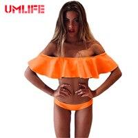 UMLIFE 2017 Sexy Off Shoulder Swimsuit Ruffled Bikini Set Solid Push Up Beachwear Bathing Suit Women