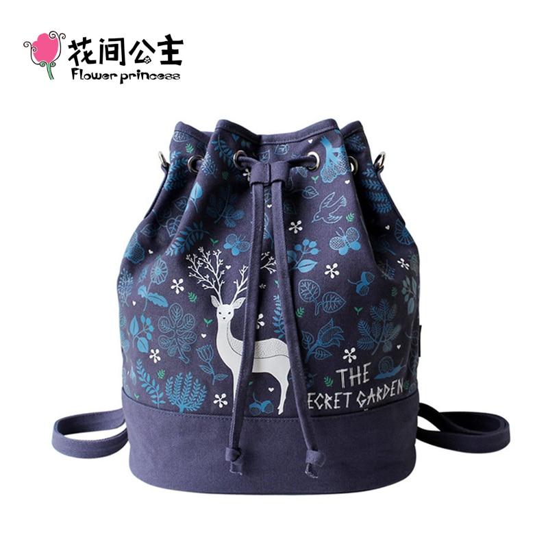 Flower Princess Brand Canvas Deer Bucket Bag Women Shoulder Drawstring Bag Travel Vintage High School Teenage Girls Ladies