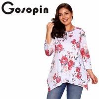 Gosopin Fashion Loose Floral Print Tops Long Sleeve Ladies T Shirt Plus Size Women Clothing Autumn