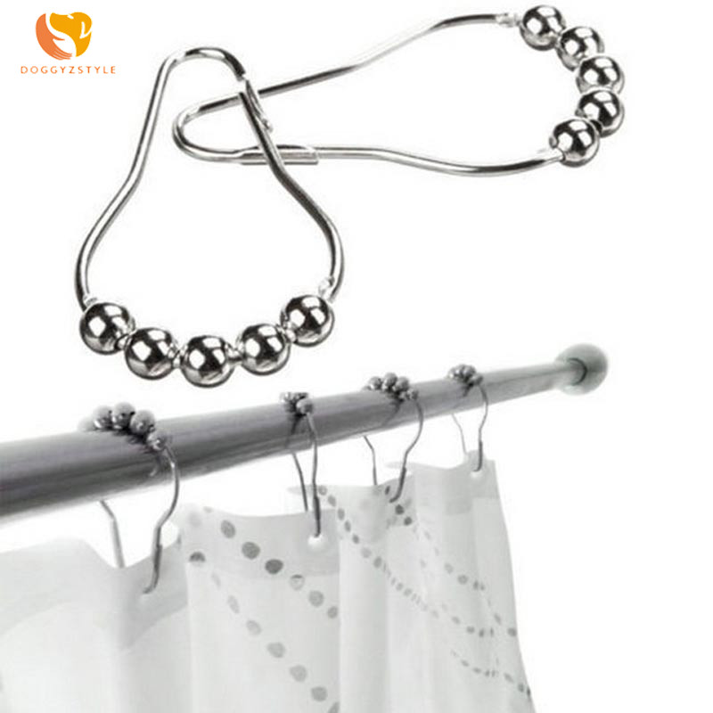Bathroom Products 12pcs/pack Shower Curtain Ring Rustproof Shower Curtain Hooks Glide Metal Rings For Bathroom Shower Rods Hooks Accessories Making Things Convenient For Customers Home & Garden
