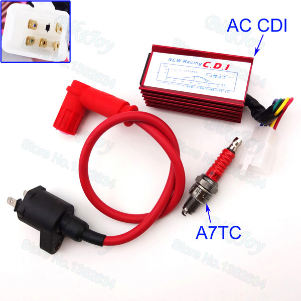 Racing Ignition Coil & 5 Pin AC CDI & A7TC Spark Plug For 50 70 90cc 110cc 125cc 140cc 150cc 160cc Engine Pit Dirt Bike ATV Quad
