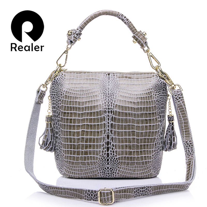 REALER brand women bag genuine leather handbag women small tote bag shoulder bags ladies classic serpentine pattern bucket bag realer brand women shoulder bag with