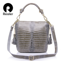 REALER Brand Genuine Leather Handbag Women Small Tote Bag Shoulder Bags Ladies Classic Serpentine Pattern Leather