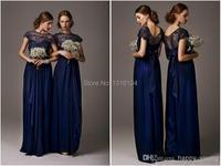 2017 Crew Short Sleeve Navy Blue Bridesmaid Dresses Chiffon Lace Ruffles Long Floor Length Bridals Gowns