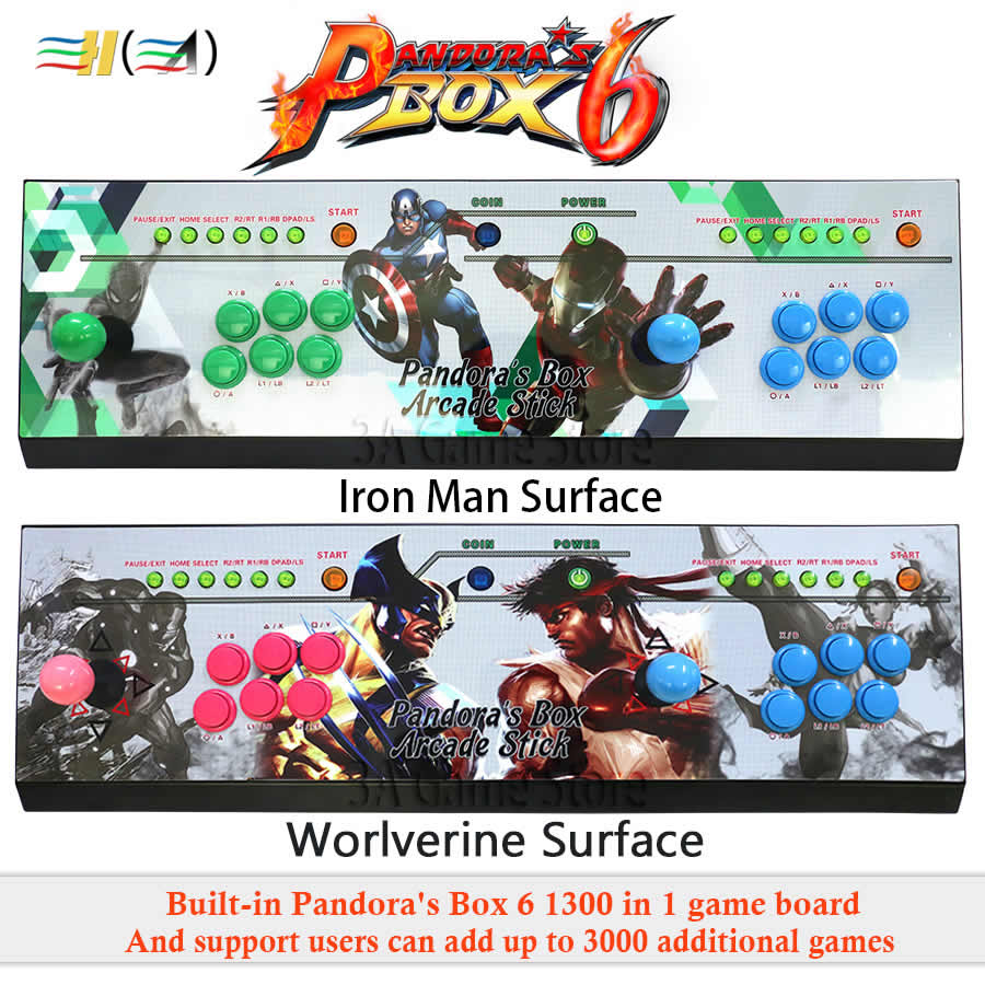 Pandora Boîte 6 1300 dans 1 arcade jeu console kit arcade 2 joueurs Peut ajouter 3000 jeux HDMI VGA usb joystick pour pc vidéo jeu ps3