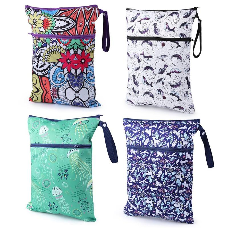 Waterproof Reusable Wet Bag Printed Nappy Bags Diaper Bag with Two Zipper Travel Hanging Carriage Pram Stroller Accessories