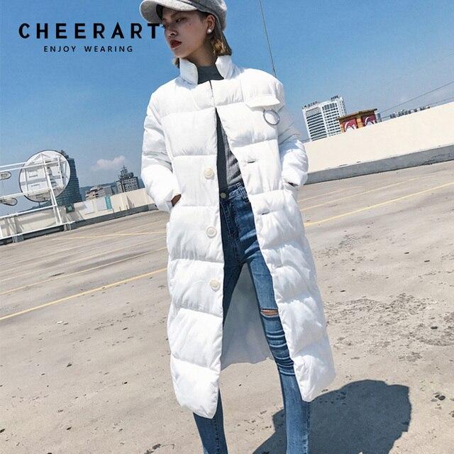 Cheerart Winter Long Down Jacket Women Parka Puffer Jacket Quilted Coats  Padded Snow Jacket Femme Long 88a3ba56b2