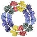 12 Pçs/lote 3 Polegada Plaid Boutique Pinwheel Bow Com Clipes Adorável Estilo DIY Acessórios de Cabelo Para Meninas Miúdos da escola 6 Cores Misturadas