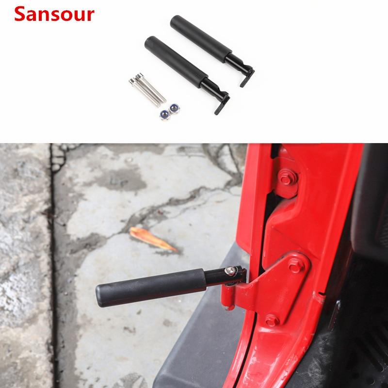 Sansour Car Door Steps Kit Door Hinge Foot Pedal Peg For Jeep Wrangler JK JL 2007-2018