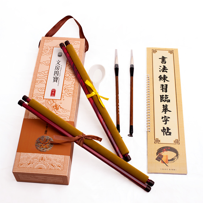 Chinese calligraphy brush pen set painting landscape for woolen and weasel hair practice copybook water cloth kit chancery pen pure langhao calligraphy brush all wood lake pen wenfangsibao set