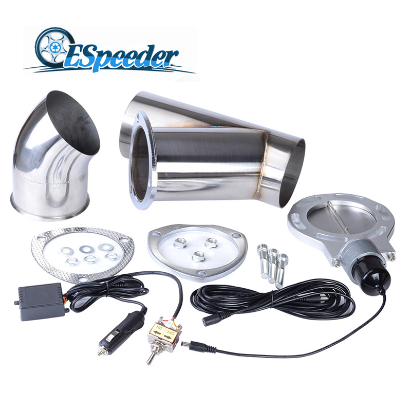 ESPEEDER Universal 4.0 Stainless Steel Y Pipe Exhaust Cutout Car Muffler Accessory Exhaust Catback Downpipe Exhaust Cut Out