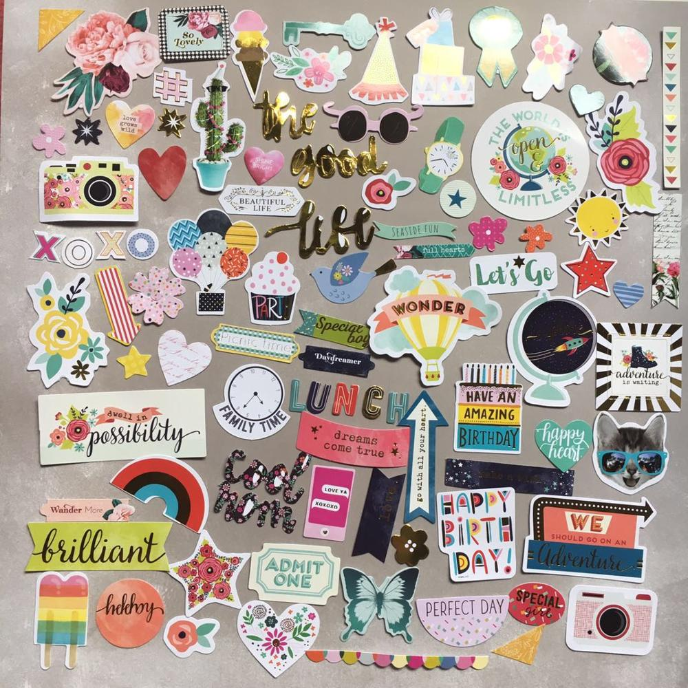 97pcs birthday party Foil Gold Paper Die Cut Stickers for DIY Scrapbooking Card Making Crafts /photo album Decoration