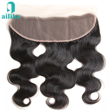 AILIKA Hair Brazilian Body Wave Lace Frontal 13X4 Ear To Ear Human Hair Lace Closure Natural Color Non Remy Hair Closure