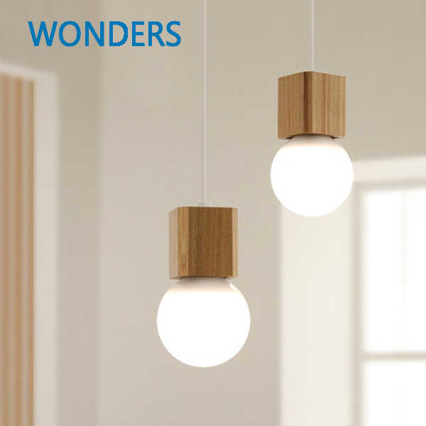 Northern Europe Vintage pendant Oak Wood Retro lamp 120cm  wire E27 socket wood lamp holder Hanging light fixture without bulb