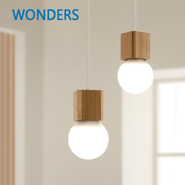 Northern Europe Vintage Pendant Oak Wood Retro Lamp 120cm  Wire E27 Socket Wood Lamp Holder Hanging Light Fixture Without Bulb