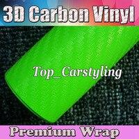 Высококачественная зеленая 3D виниловая пленка для автомобиля из углеродного волокна с воздушным пузырьком, 3D, стильное покрытие для кожи а