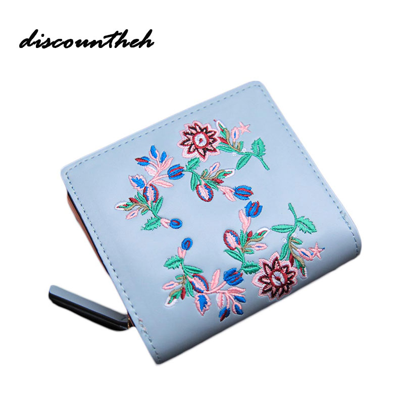 Fashion Cute Wallet Cartoon Embroidery Technology Pattern Retro Purse Short Section PU Leather 2 Fold Multi Card Bit Wallets