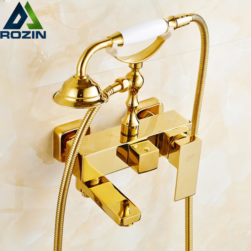Wall Mounted Golden Brass Bathtub Sink Faucet Bathroom Handheld Shower Tub Filler Swivel Tub Spout wall mounted bright chrome bathtub sink faucet two cross handles bathroom handheld shower mixers swivel tub spout