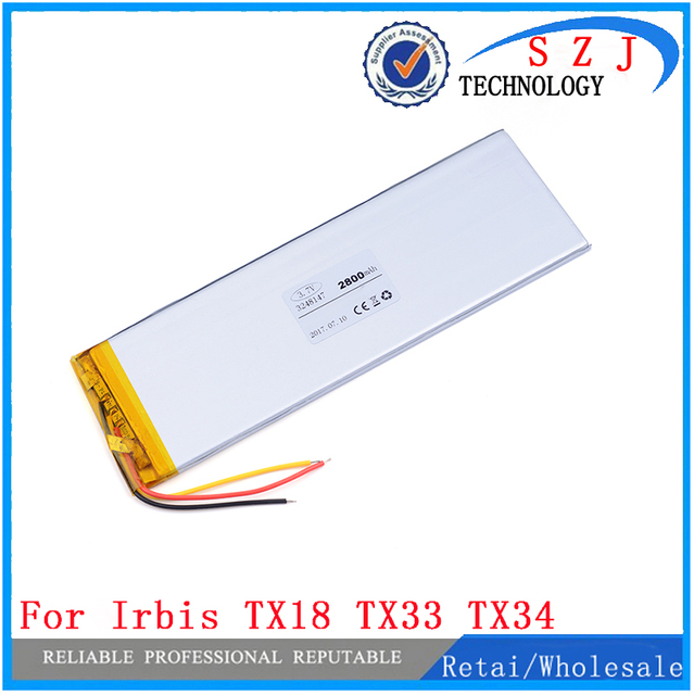 """3Cables Inner Exchange Battery 2800mA for 7"""" Irbis TX18 TX33 TX34 3G Explay Surfer 7.02 TABLET Batteries Cell Replacement"""