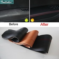 Tonlinker 8PCS Car Styling PU Leather Door Panel Armrests Protective Holster Cover Case Stickers for VW NEW GOLF MK7 Accessries