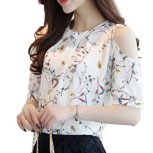 2019 Summer Style Floral Shirt For Womens Elegant Open Shoulder Blouses Chiffon Print Blusas Women Ete