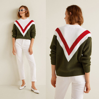 Tricolor Pattern Sweater Women Autumn Winter Round Neckline Long Sleeve Ladies Knitted Sweater Pullover Cable Cotton Jumpers