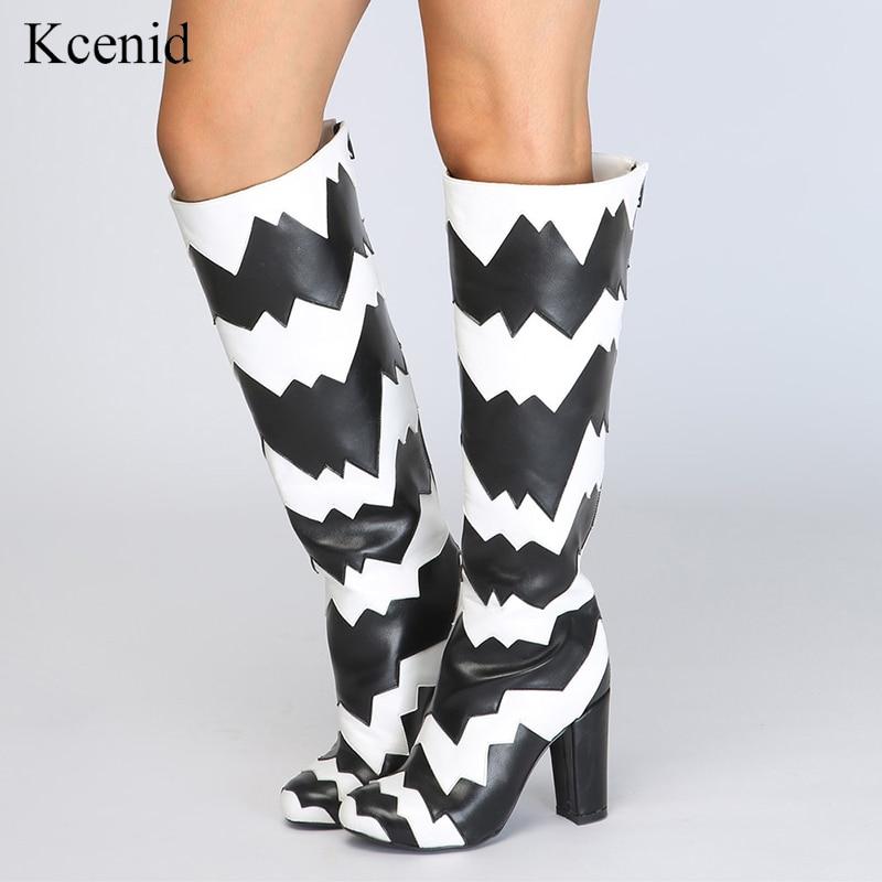 Kcenid Dames Taille Patchwork 47 Nouveau Haute Style Hauts Bottes Mode Plus Genou Rond Noir Chaussures 34 Femmes Talons Bout Tr5wxaTq4