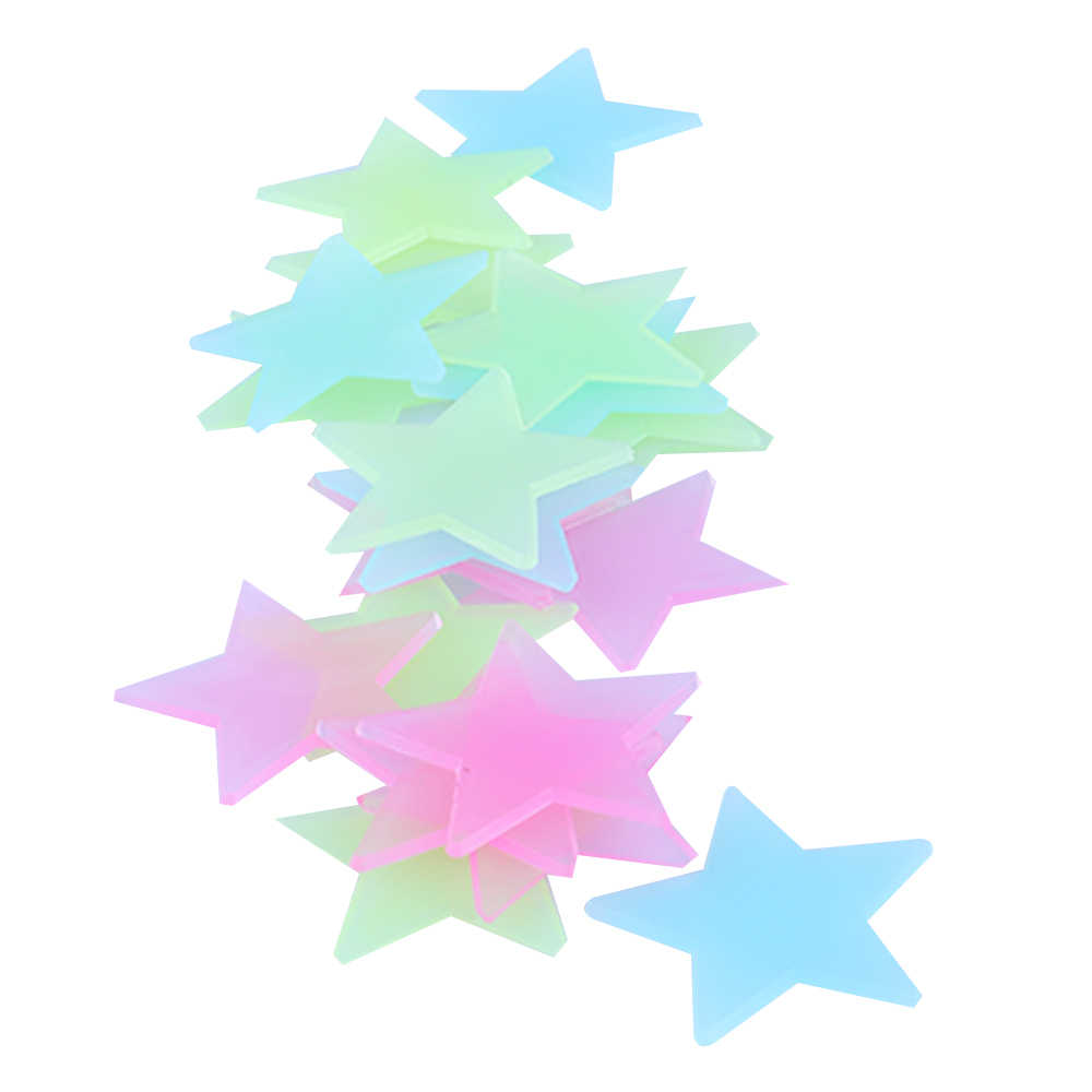 100PCS Stars Luminous Fluorescent Wall Papers Kids Rooms Stickers Decoration Crafts Vinyl Removable Wallpapers Home Improvements