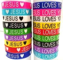 50pcs 예수 실리콘 팔찌 예수님은 당신을 사랑한다 고무 팔찌 남자 여자 종교적인 팔목 아이들 예수 보석 도매