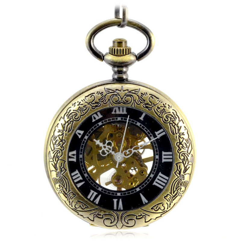 Steampunk Skeleton Bronze Automatic Mechanical Pocket Watch Men Vintage Hand Wind Clock Necklace Pocket & Fob Watches With Chain steampunk skeleton mechanical pocket watch men vintage bronze clock necklace pocket