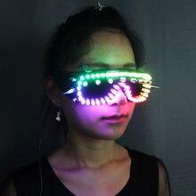 Полноцветные светодиодные светящиеся очки могут изменить 7 цветов мигающий Хэллоуин Вечерние Маски светящиеся очки для диджейский клубный сценический шоу