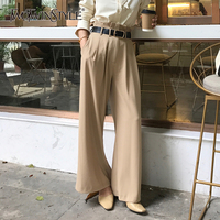 TWOTWINSTYLE Ruched Trousers Female High Waist Sashes Ruffles Pocket Long Wide Leg Pants Spring Fashion Elegant Clothing 2018