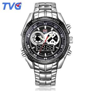 TVG Digital Sport Watch Men Steel Band Watches LED Analog Alarm Calendar Wristwathces Waterproof Reloj Inteligente Mujer 468