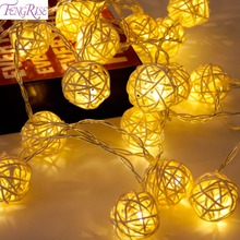 FENGRISE 2M Warm White Rattan Ball String Fairy Lights for Home Decoration Kids Room Decor Christmas Tree Ornaments Xmas