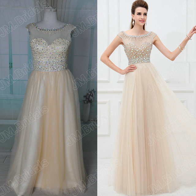 Free Shipping JM.Bridals CQ078 Gorgeous cap sleeve long cream ...