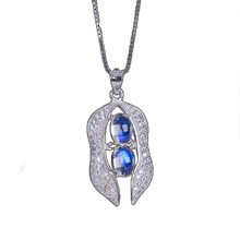 Natural non-optimized Labradorite 4*6/3*5 Moonstone Inlaid 925 Silver Pendant Jewelry Luxury Mosaic Support Customization