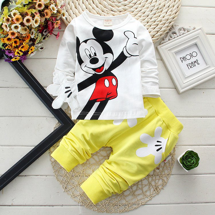 Vestidos Baby Boy Clothes 2017 New Cartoon Long Sleeved T-shirt Tops + Pants 2PCS Outfits Kids Bebes Jogging Suits Tracksuits