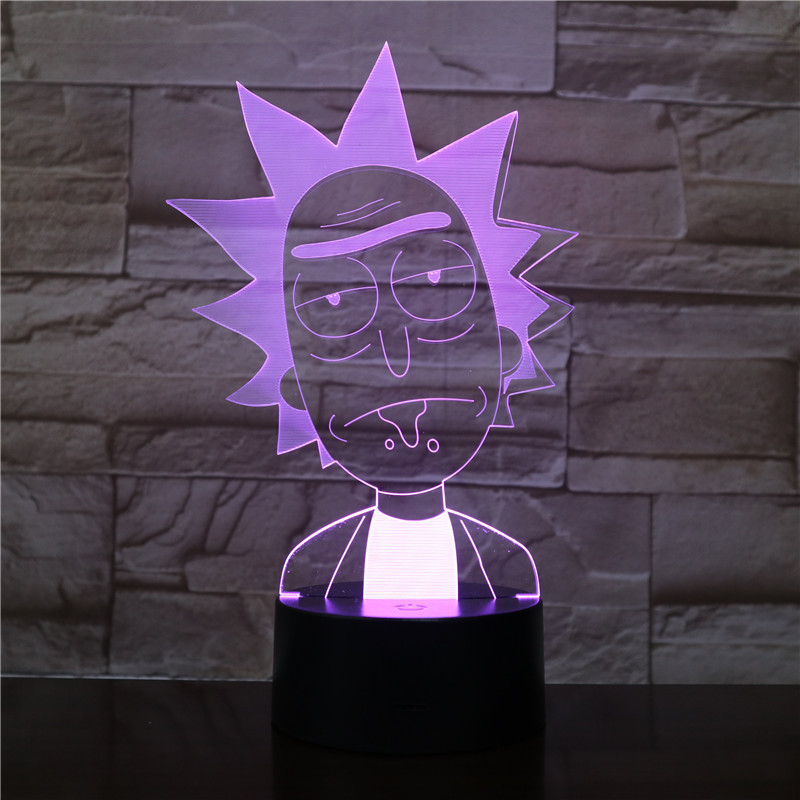 3d Led Night Light Rick And Morty For Kids Bedroom Decorative Light Cool Baby Child Nightlight Gift Color Changing Room Lamp 3d