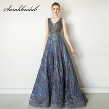 Роскошные вечерние платья с бисером для банкета, 2021, Длинные вечерние платья, сексуальные платья, женское платье с v образным вырезом, Дубай, Vestidos L5487