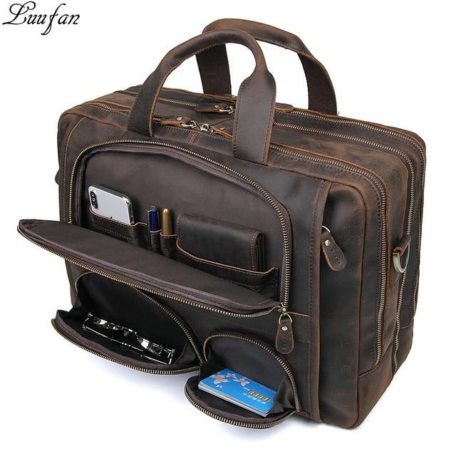 Multifunction Crazy Horse Genuine Leather Men Briefcase 17