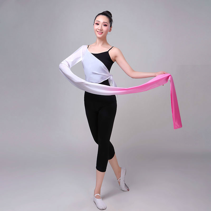 Yangko Dance Chinese Hanfu Water Sleeve Costumes Single-shoulder Classical Dance Practice Tops Female Children Performing