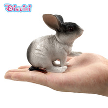 Simulation Big Grey White Rabbit Farm Animal Model Plastic figure home decoration accessories decor figurine Gift For Kids toy